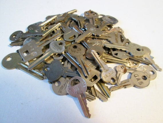 57 Assorted Vintage Steel Keys  - Many Different Brands -  for your Steampunk Art, Crafts - Jewelry Making