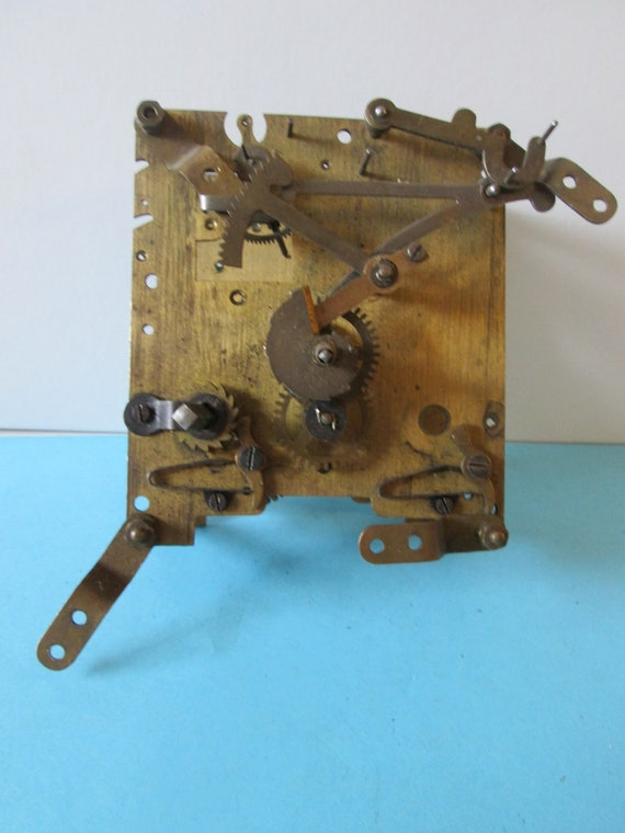 Vintage English Brass & Steel Partial Clock Works with Key For Repair/Parts Stk# 773