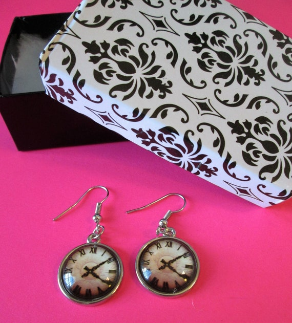 "1 Pair of New 1 5/8"" Long Shiny Chrome Plated Pierced Earrings with 3/4"" Wide Glass Clock Design Insert - Great Gift Idea"