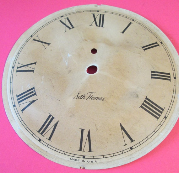 """5 5/8"""" Dented and Worn Out Seth Thomas Tin Clock Dial for your Clock Projects, Steampunk Art..."""