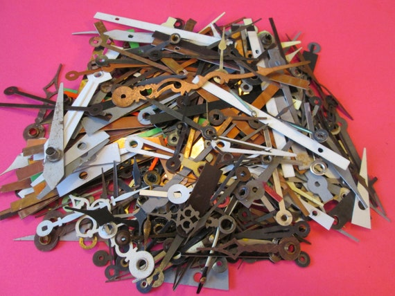 3/4 Pound of Assorted Vintage Mixed Metals and Colors Clock Hands for your Clock Projects, Steampunk Art, Jewelry Making and Etc.