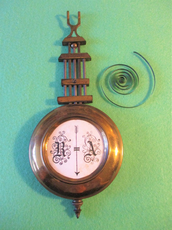 """Antique R A Pendulum 7 5/8"""" Tall - Solid Brass and Steel - Schatingunge 118. Stk# 336"""