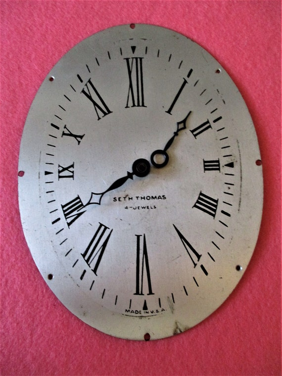 """6"""" x 4 1/2"""" Oval Seth Thomas Clock Dial With Hands for your Clock Projects - Art - Stk# 843"""
