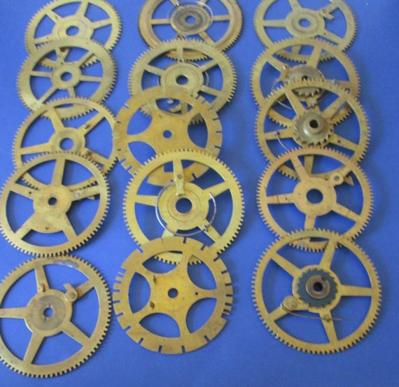 15 Large Solid Brass and Steel Antique Clock Wheels with Assorted Parts Attached for your Clock Projects - Steampunk Art - Stk# 404