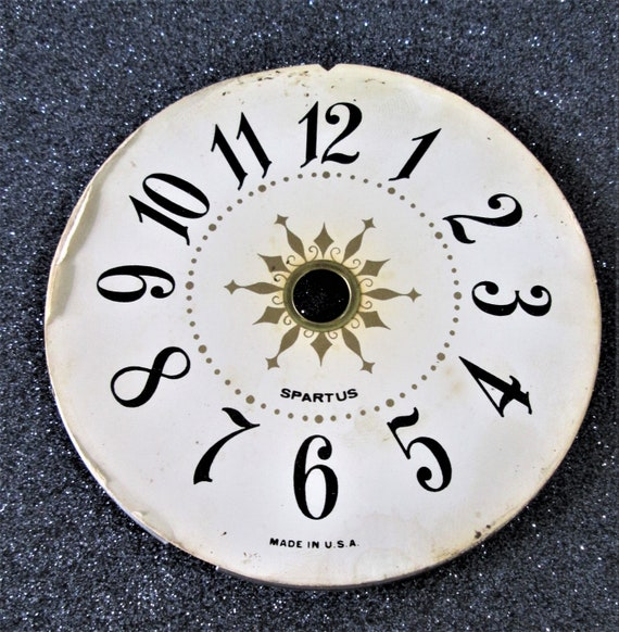 """4"""" Vintage Paper on Steel Pan Fancy Spartus Clock Dial for your Clock Projects - Art - Stk# 374"""