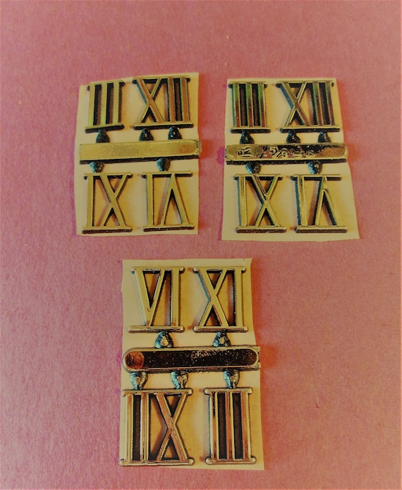 """3 Sets of Shiny Gold Thick Plastic Press On 5/8"""" Clock Roman Numerals for your Clock Projects, Steampunk Art, Altered Art"""