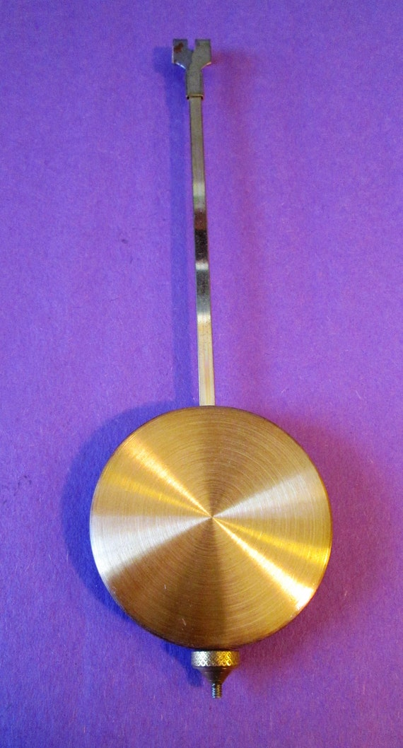 "1 Vintage 7 1/2"" Brushed Brass Plated Steel Clock Pendulum for your Clock Projects - Steampunk Art - Metalworking"