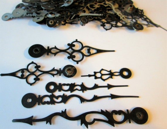 100 Assorted Vintage Black Serpentine Style Clock Hands for your Clock Projects, Steampunk Art, Jewelry Making & Etc.B1017