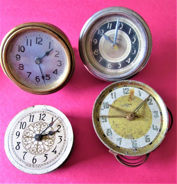 Lot of 4 Vintage Assorted Small Partial Clocks for Repair/Parts Steampunk Art and Etc..Stk# 524