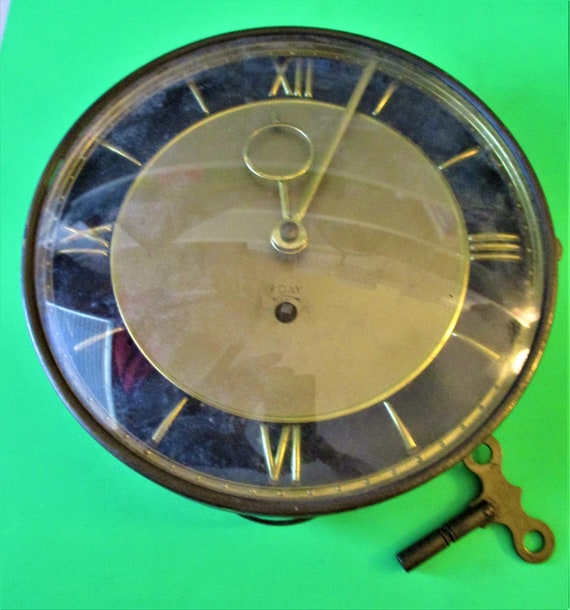 """6 3/4"""" Wide Vintage German Made Rensie Watch Co. Partial Clock With Glass And Key Stk# 360"""
