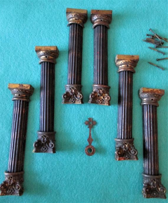 "Set of 6 Original Antique Mantle Clock Columns 5 1/4"" Tall  - Cast Metal and Pressed Copper - Stk# 841"