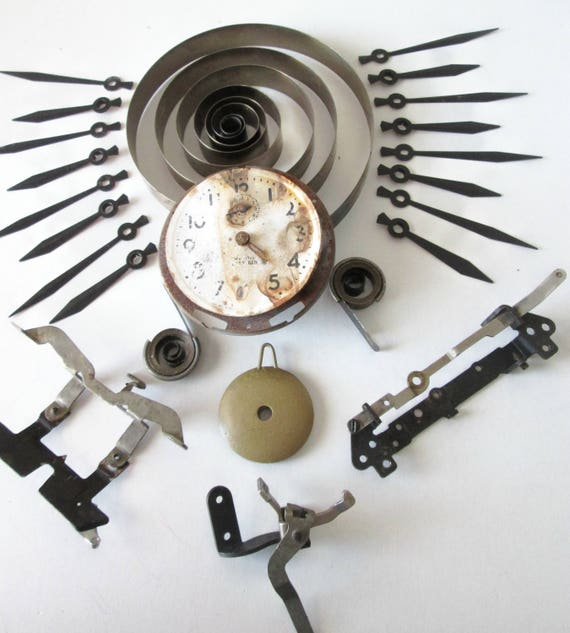 A Nice Lot of Antique & Vintage Clock Parts and Painted Copper Clock Hands for your Clocks Projects - Jewelry Making - Steampunk Art