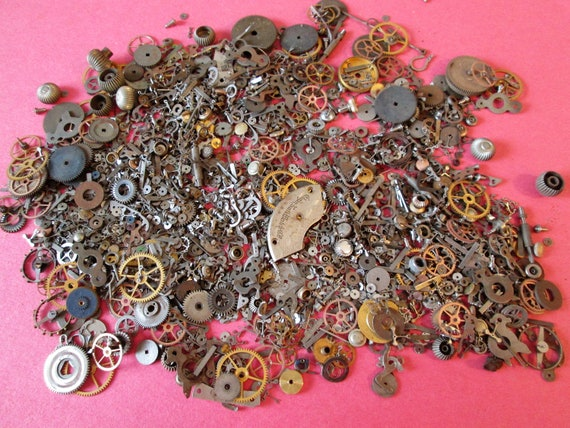 Hundreds of Small Pocket and Wrist Watch Parts and Pieces for your Watch Projects - Jewelry Making - Steampunk Art