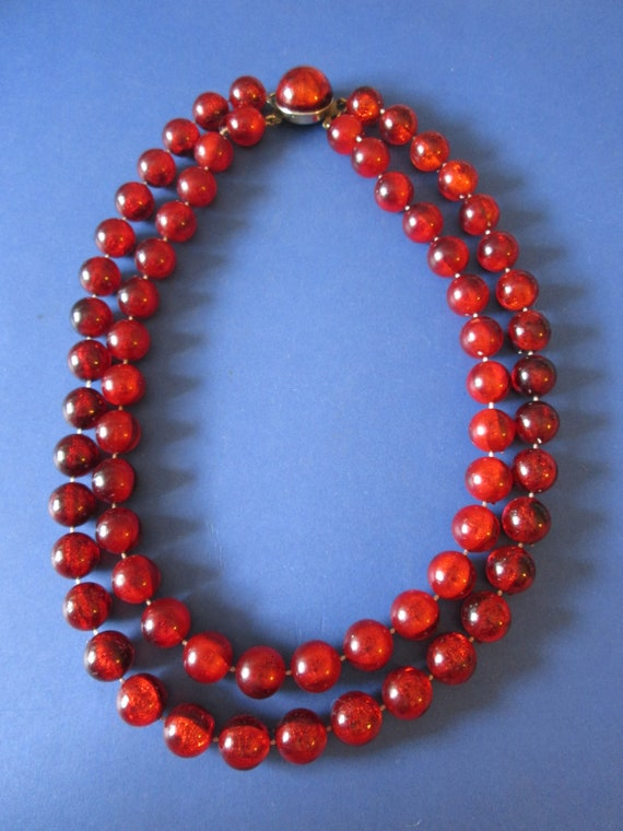 "18"" Vintage Double Strand Cranberry Colored Round Glass Beaded Necklace"