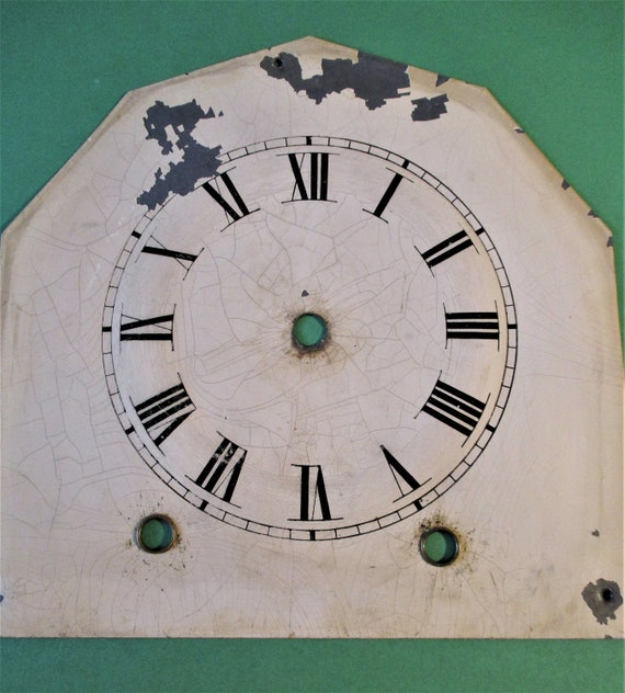 """Antique  Painted Tin Clock Dial with Roman Numerals - 7 1/2"""" x 7 1/2"""" Stk# 145"""