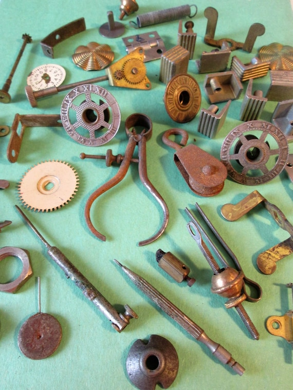 Steampunkers  Lot of Assorted Antique & Vintage Clock Parts - Tools - Random Objects for your Projects