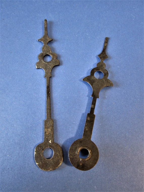 "1 Pair of Old Black Steel 4 1/4"" and 3 5/8"" Clock Hands for your Clock Projects"