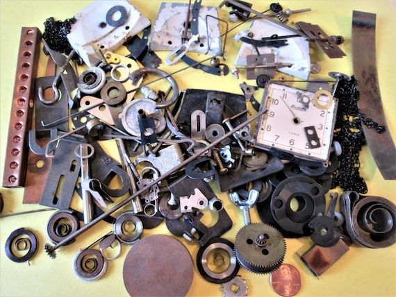 Junk? Treasure? You Decide. Nice Lot of Assorted Old Clock and Alarm Clock Parts and Hardware for your Clock Projects, Steampunk Art Stk#100