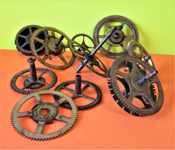 10 Assorted Old and Tarnished Solid Brass and Steel Clock Parts for your Clock Projects - Steampunk Art Stk#700