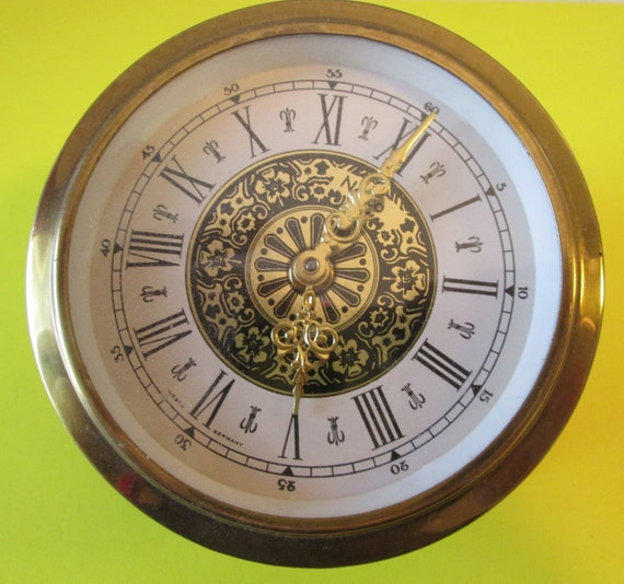 """3 5/8"""" Vintage West German Made Fancy Brass Plated Steel Partial Clock for your Clock Projects, Steampunk Art and Etc.."""