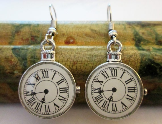 """1 Pair of New 1 5/8"""" Long Shiny Chrome Plated Pierced Earrings with 3/4"""" Wide Glass Clock Design Insert"""