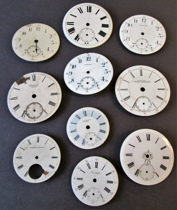 10 Assorted Antique and Vintage Porcelain Pocket Watch Dials for your Watch Projects - Jewelry Making - Steampunk Art