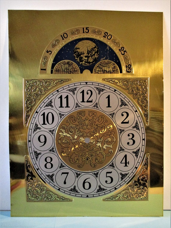 New Large Reproduction Fancy Stamped Aluminum Arabic Moon Clock Dial