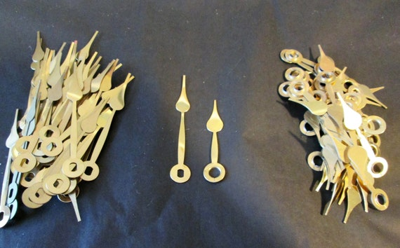 """20 Pairs of New Shiny Brass Plated Steel Spade Design Clock Hands - Make Clocks, Jewelry, Steampunk Art and Etc... 2 3/8"""" and 1 3/4"""""""