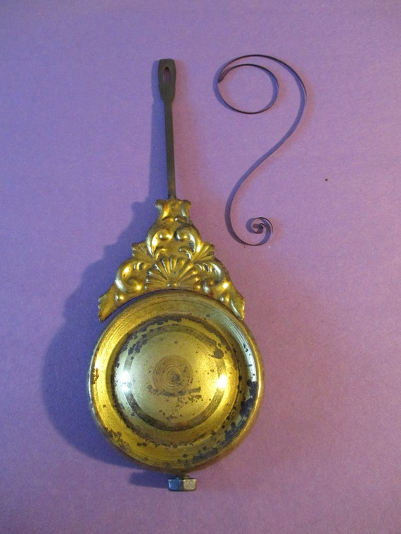 """Original Old & Worn Fancy Pressed Solid Brass, Cast Metal and Steel Clock Pendulum 4.6 Ounces 6 3/4"""" For your Clock Projects - Art Stk# 109"""