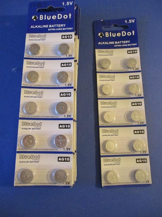 7 Packs of New 1.5V Blue Dot Alkaline Batteries AG10 Size - 70 in Total - Expire May 2026