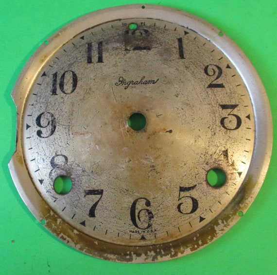 "5 1/2"" Old and Worn Ingraham Metal Clock Dial for your Clock Projects - Art - Stk# 769"