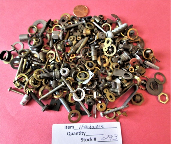 10 Ounces of Assorted  Brass and Steel Hardware and Misc. Items for your Antique & Vintage Clock Projects,  Steampunk Art Stk#293