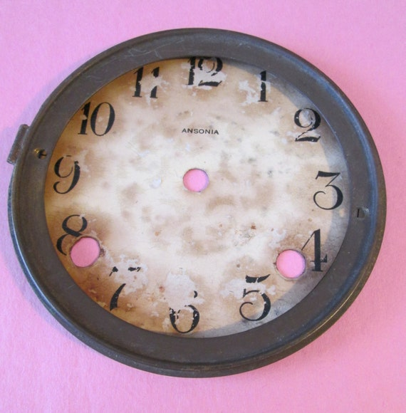 "5"" Antique Ansonia Paper Dial on Metal Pan with Solid Brass Bezel for your Clock Projects , Steampunk Art and Etc..."
