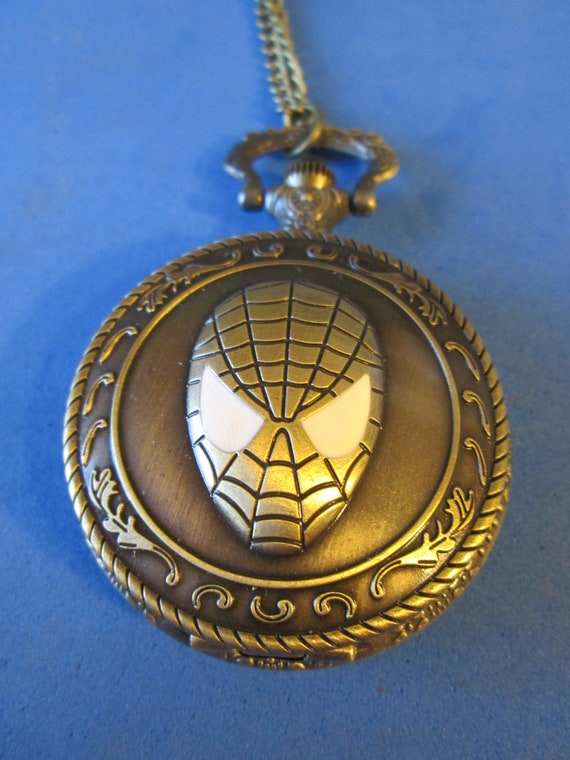 "1 New Spiderman Quartz Pocket Watch Pendant - Bronze Look Metal with 32"" Chain - Great Gift for Spiderman Lovers"