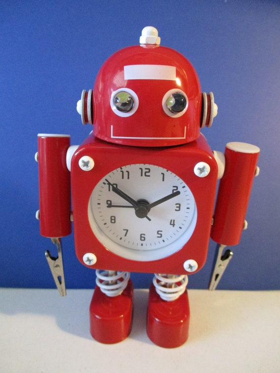 """New Funky Metal Robot Alarm Clocks Red, Blue & White 6 1/2"""" Tall- Eyes Light Up And Flash with Alarm Bell - Movable Arms with Clips"""