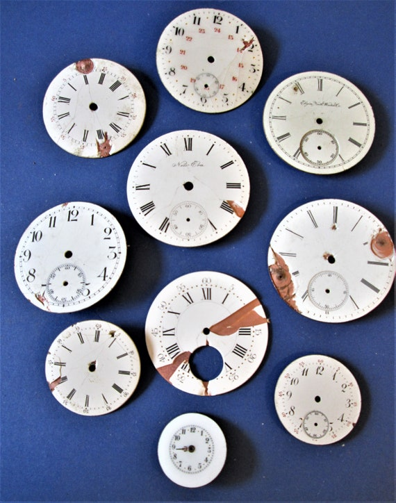 10 Assorted Antique and Vintage Porcelain Pocket Watch Dials for your Watch Projects - Jewelry Making - Steampunk Art Stk#W70