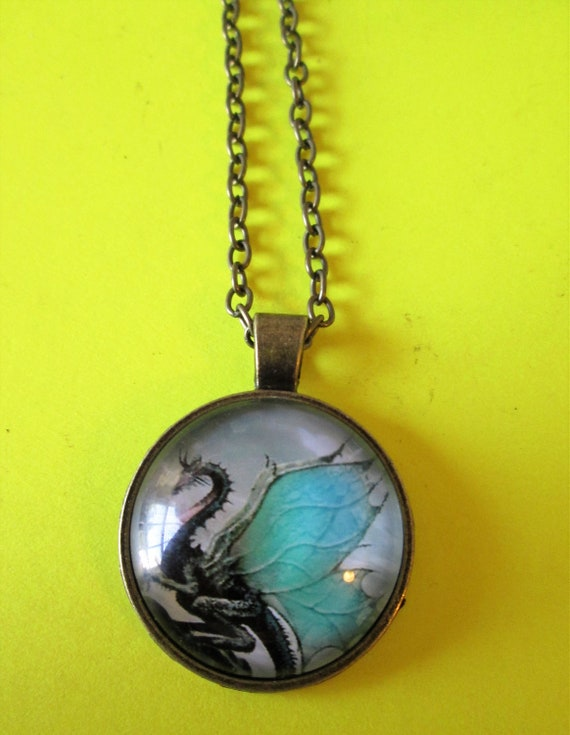 "1 New Domed Glass Dragon Theme Necklace 1"" Wide with an 18"" Adjustable Chain - Great Gift Idea"