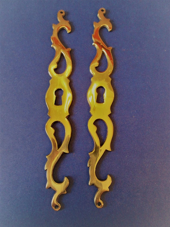 2 Large Vintage Thick Solid Brass Fancy Furniture Door Key Hole Ornaments