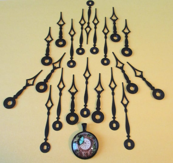 10 Pairs of Vintage Black Painted Copper Diamond Style Clock Hands for your Clock Projects, Jewelry Making, Steampunk Art Stk#168