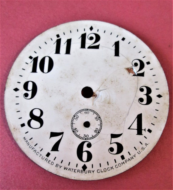 "1 Small 2 5/8"" Antique Waterbury Clock Co. Porcelain on and Steel Clock Dial"
