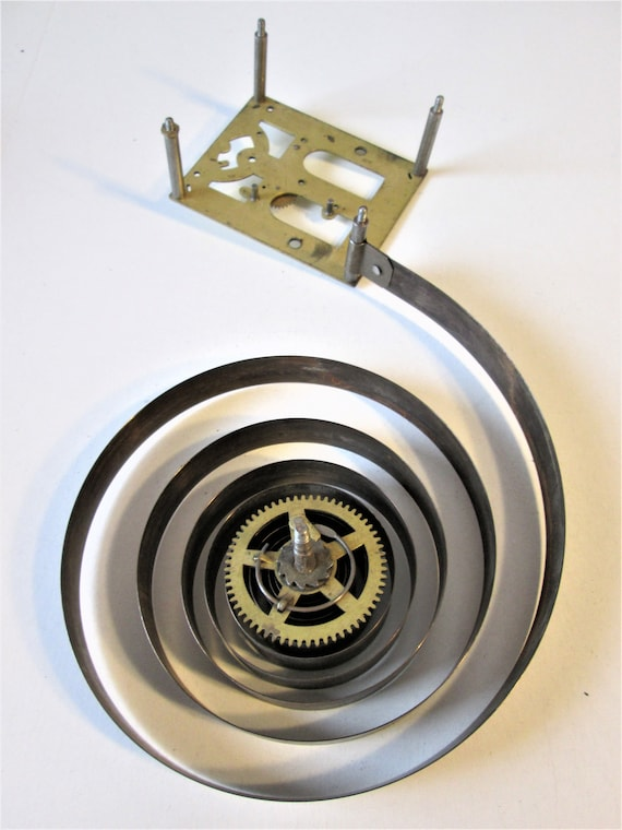 """1 5 1/2"""" Wide Vintage Clock Sprung Mainspring with Attached  Gear and Mounting Plate for your Clock Projects, Steampunk Art Stk#406"""