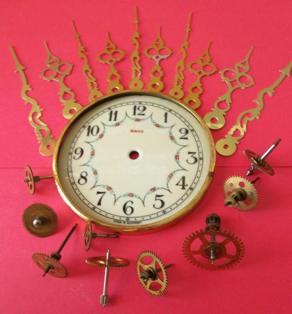 """Nice Vintage 4 1/2"""" German Heco Porcelain Anniversary Clock Dial with Assorted Clock Parts and Hands for your Clock Projects - Steampunk Art"""