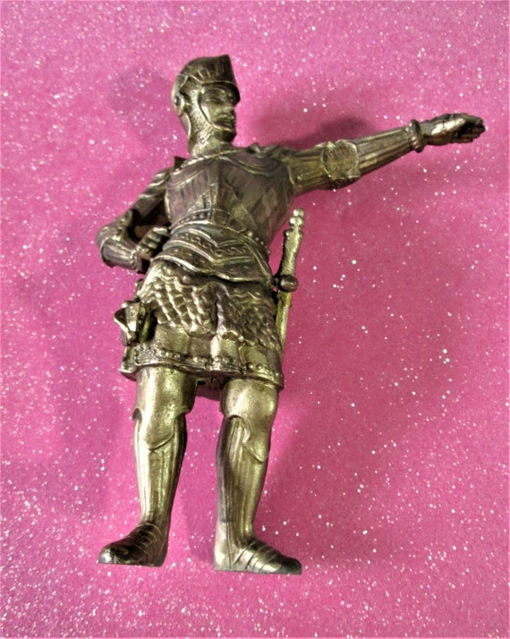 """Beautiful Intact & Detailed Antique Gold Painted Heavy Cast Metal Soldier with Sword Clock Topper/Ornament 7"""" Tall In Great Shape"""