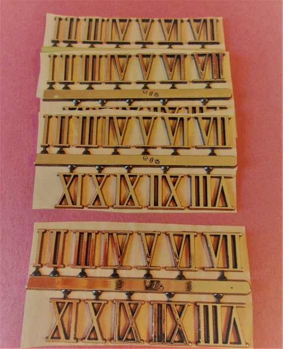 """4 Sets of Shiny Gold Thick Plastic Press On 5/8"""" Clock Roman Numerals for your Clock Projects, Steampunk Art, Altered Art"""