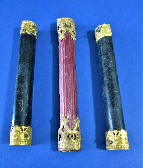 3 Original Wooden Mantle Clock Ornamental Columns With Brass Accents for your Clock Projects - Art - and Etc... Stk# F34
