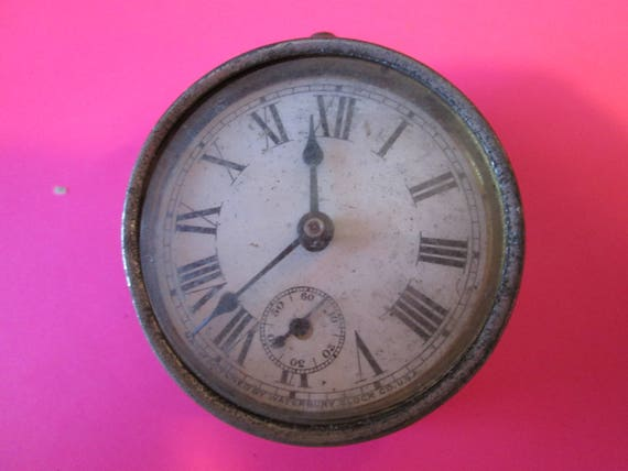 """Old Small 2"""" Waterbury Clock for Repair, Parts, Steampunk Art and etc..."""