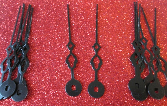 """14 Vintage Fancy 3 3/8"""" Black Steel Clock Minute Hands for your Clock Projects - Jewelry Making - Steampunk Art"""