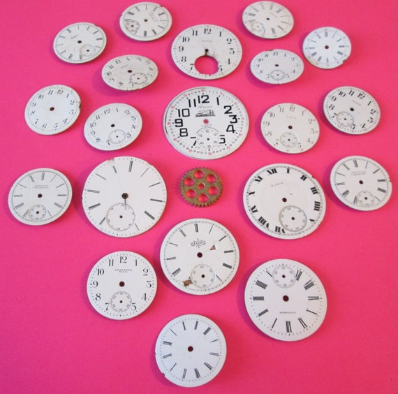 20 Assorted Antique and Vintage Porcelain Pocket & Wrist Watch Dials for your Watch Projects - Jewelry Making - Steampunk Art
