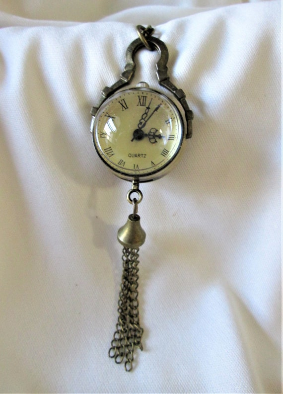 """New Antiqued Look Fancy Victorian Pendant Watch with 30"""" Chain - Acrylic - Quartz Battery - Great Gifts!"""