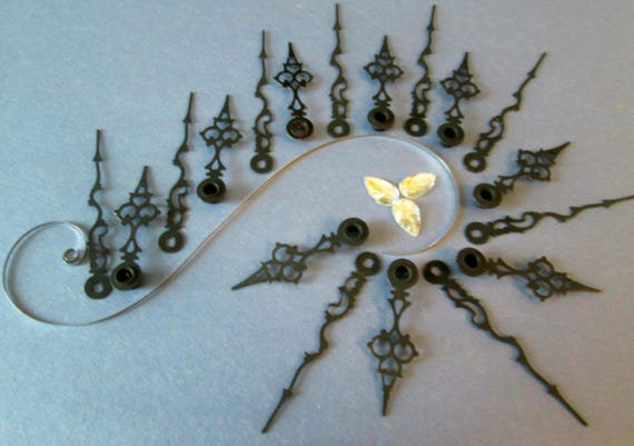 10 Pairs of Small Vintage Black Steel Serpentine Style Clock Hands for your Clock Projects, Jewelry Making, Steampunk Art and Etc...